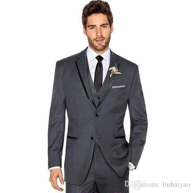 High-grade Grey Peak Lapel Men Suit Groom Tuxedos Best Man Wedding Suits For Men Groomsman Bridegroom Suit (Jacket+Pant+Vest)