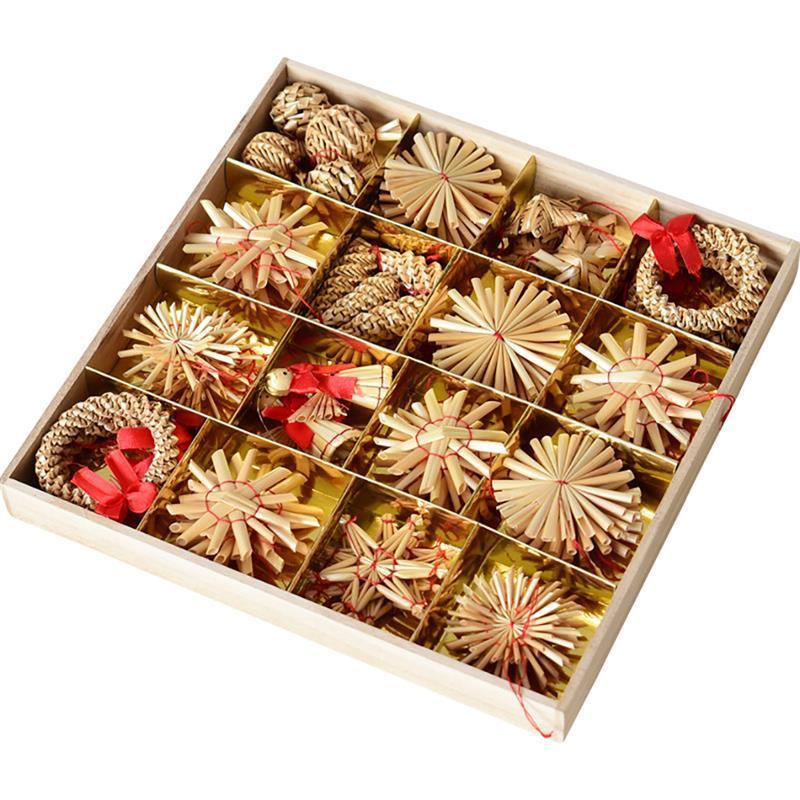 56PCS شجرة عيد الميلاد الشنق زخرفة الطبيعية القمح سترو اليدوية البسيطة النجمة الخماسية ثلج اكليلا من الزهور ديكور لعيد الميلاد
