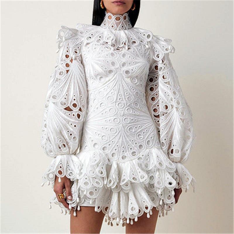 Pista 2020 Mini vestido Patchwork oco Out Ruffles irregulares vestidos vintage de Verão New Turtleneck alargamento da luva Mulheres