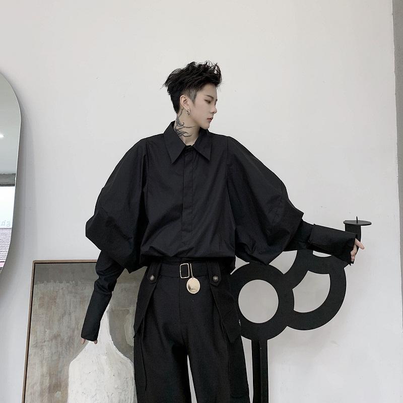 Мужские повседневные рубашки Мужской Япония StreetStyle Vintage Punk Gothic Свободное платье Мужчины Ретро Мода Широкий Длинный Рубашка Рубашка Одежда