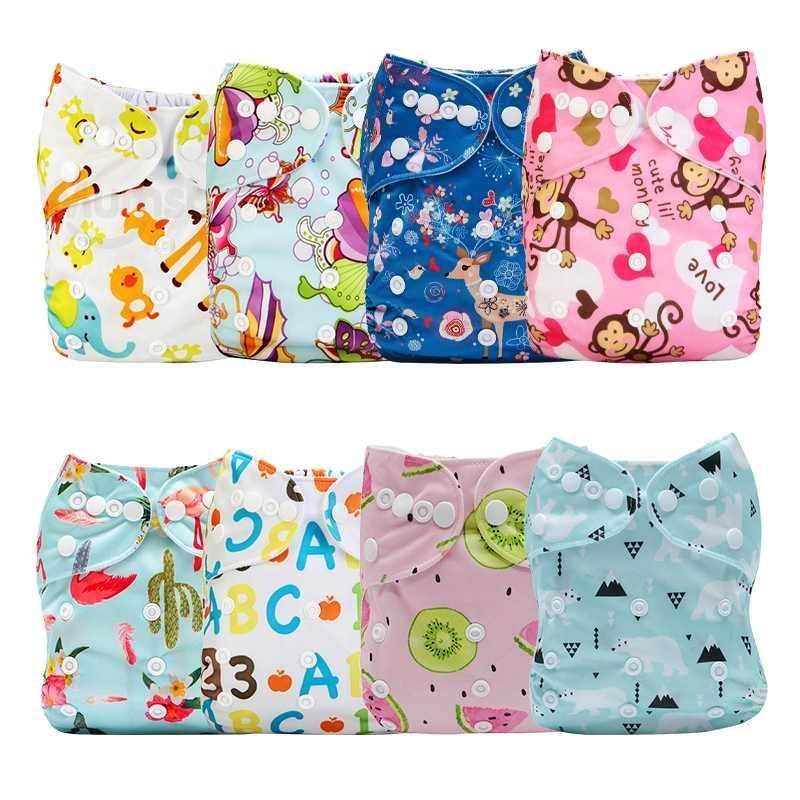 8PCS/Pack Printed Cloth Baby Printed Cloth Diaper Reusable Pocket Waterproof &Breathable Nappy Cover Sent Random Color