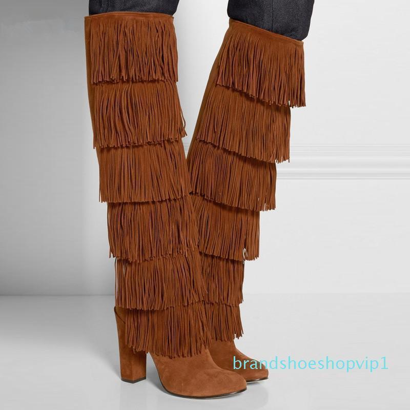 Charm2019 SHOOEGLE Botas rouge frangée Suede Cuissardes Bloc Talons Grandes Tailles femme Bottes style rue Cuisse