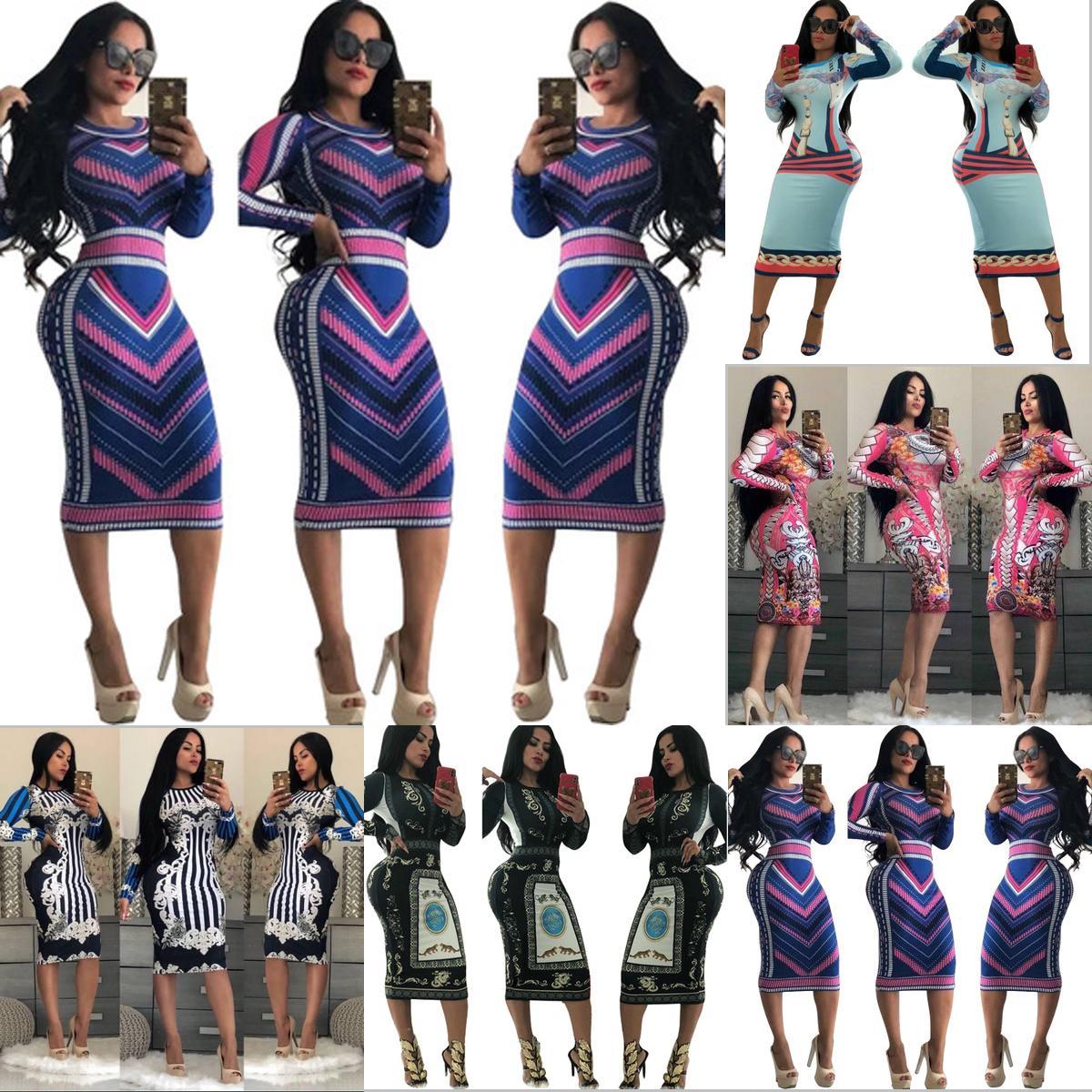 20 Stiller Kadınlar Seksi Elbise Stretch Parti Elbise Çiçek Toptan Yeni için Sıska Kulübü Wear Muhteşem vestidos BODYCON Elbiseler 2020 Print