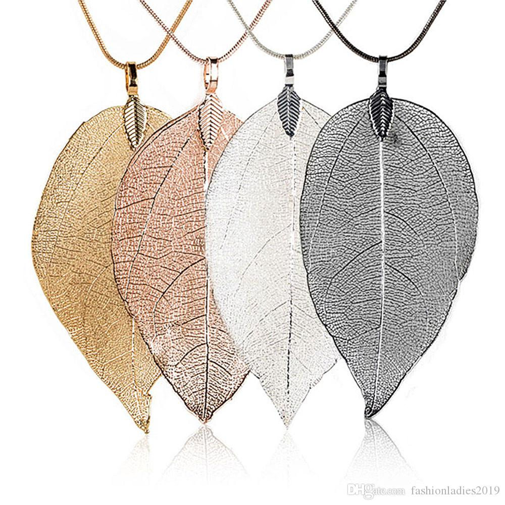 2019 fashion Sweater Coat Necklaces Ladies Girls Special Leaves Leaf sweater Pendant Necklace Long Chain Jewelry for Womens bijou Gifts