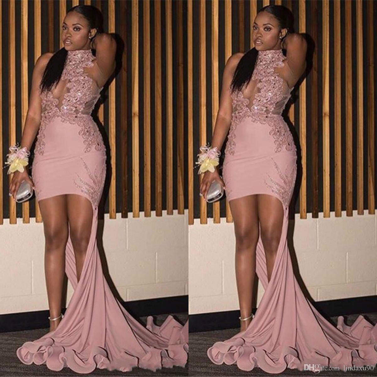 Africani ragazze rosa della sirena Prom Dresses 2019 abito da Spalato lunghi abiti da sera con applicazioni di paillettes partito pura sexy alto collo