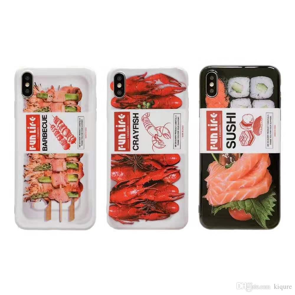 Creative Delicious Food Shell Гладкий Мягкий Чехол Раки Суши Барбекю Обложка Чехол Для iPhone 6 7 8 плюс x xr xsmax