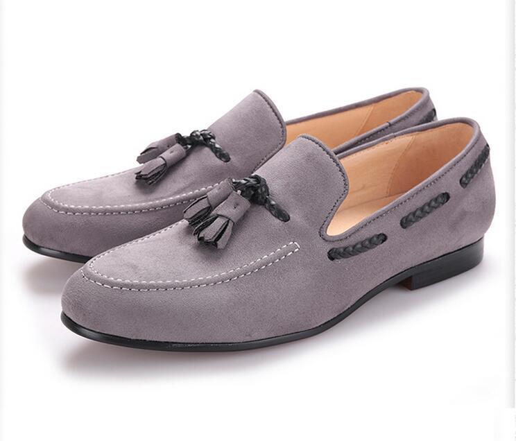 Sıcak Satış-Yeni erkek Rahat Ayakkabılar gri püskül Adam elbise ayakkabı Parti geyik derisi Yumuşak ayakkabı 22