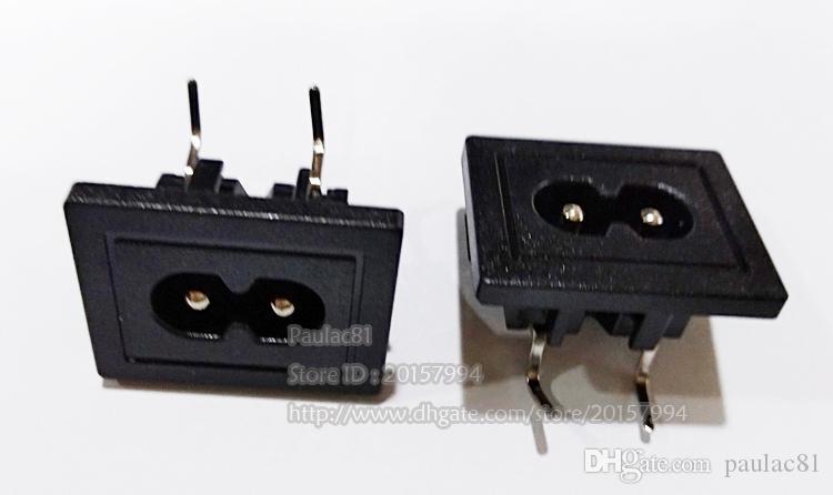 AC 250V 2.5A Угловая IEC 320 C8 2Pin вилка Разъем Пайка питания / Бесплатная доставка / 20PCS