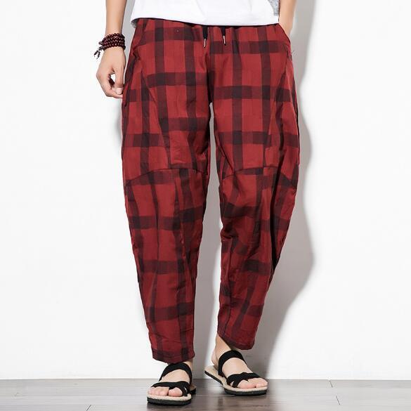 Mens Hosen Neue Plaid-beiläufige Hosen lose Art große Baumwollmischung Hosen 2 Farben asiatische Größe M-5XL