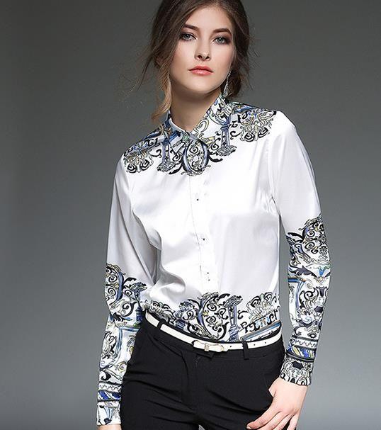 Robe professionnelle pour femme blanche Chemises à manches longues Imprimante haut de gamme à la base de la mode pour le col du revers Chemisiers pour les vêtements d'été
