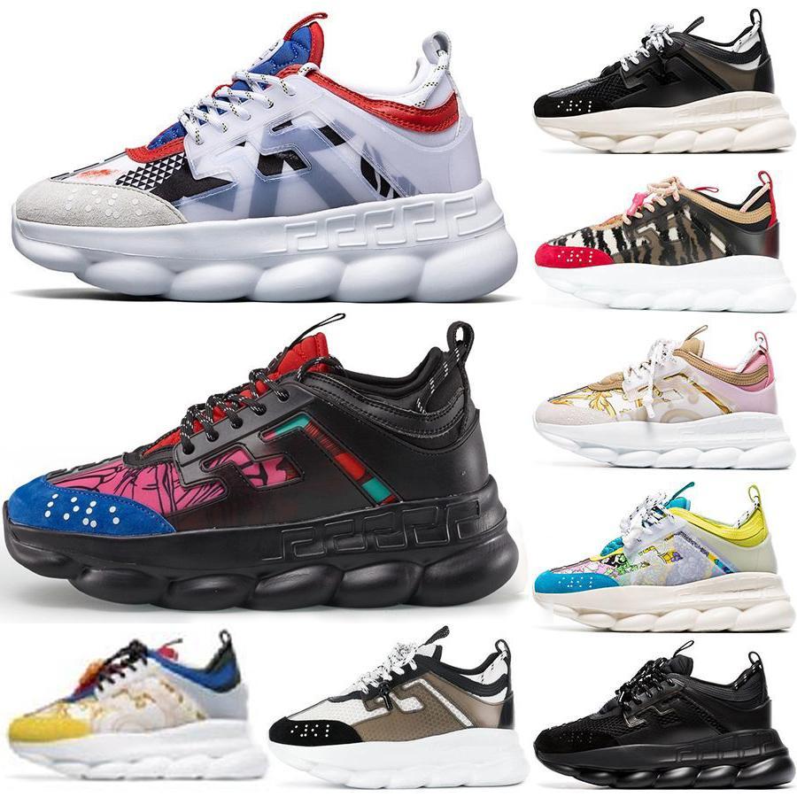 calzados informales de la nueva cadena de diseño Reacción de lujo de zapatos mujeres de la plataforma diseñador de los hombres Sho Negro Blanco malla de goma cuero de la muchacha de moda ty5321