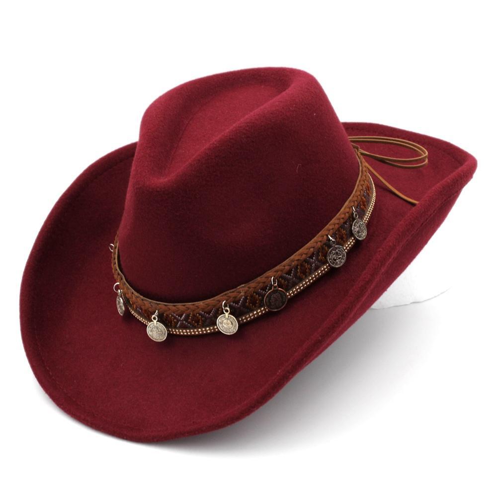 Vente chaude unisexe Party Outdoor Beach Street Punk Panama Top Hat large Upturn Roll-up Brim Cowboy Western Gentleman Jazz Sombrero Chapeau Cap