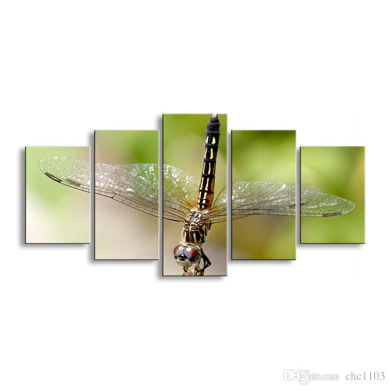 5 pieces high-definition print dragonfly canvas painting poster and wall art living room picture QIT5-006