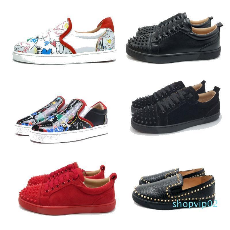 zapatos inferiores rojos de pico 2019 de encaje confusión diseñador de zapatos mocasines se deslizan en los zapatos casuales de cuero de lujo suedue tamaño 35-46 con la caja