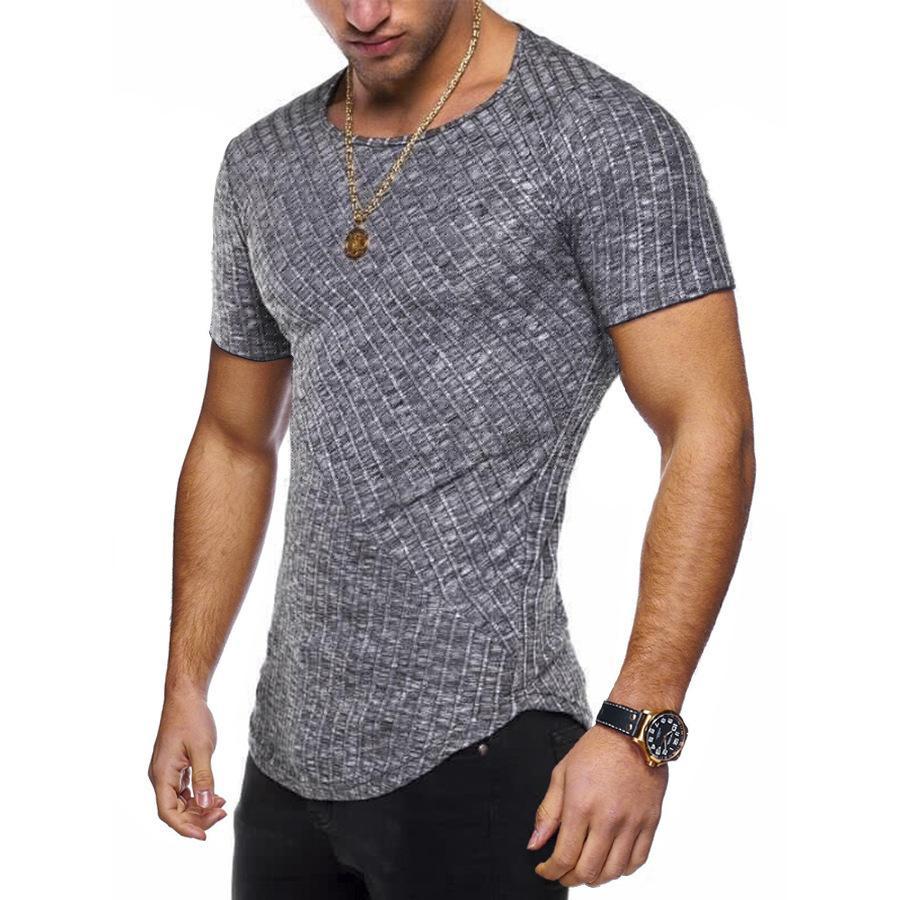 8 Colors summer Men Short sleeveT Shirt Casual Round Neck Striped Elastic Fit Funny Streetwear Solid Tshirt Hip Hop Tops S-3XL MX200509