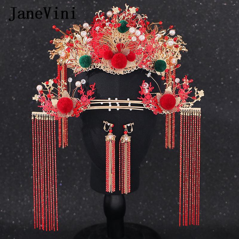 Hairwear nupcial JaneVini tradicional china antigua Perlas Mujeres Rojo de las horquillas joyería de la boda accesorios para el cabello de colores Pompón