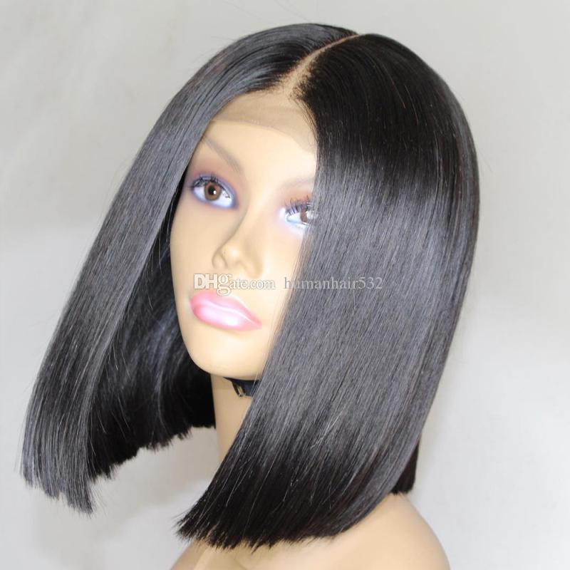 브라질 스트레이트 머리 짧은 밥 컷 가발 조정 가능한 사전 뽑은 4x4 최고 레이스 클로저 밥 블랙 여성을위한 휴먼 헤어 가발을 잘라 도매