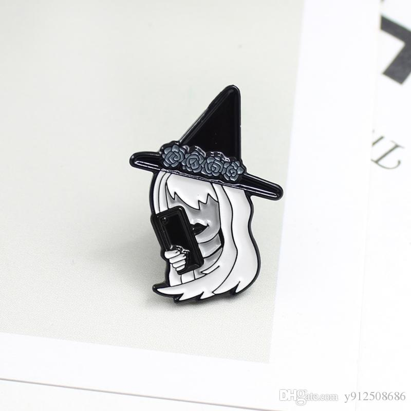 White hair witch hand talk phone styling personality brooch dark series fashion jewelry Halloween denim clothing jewelry gift