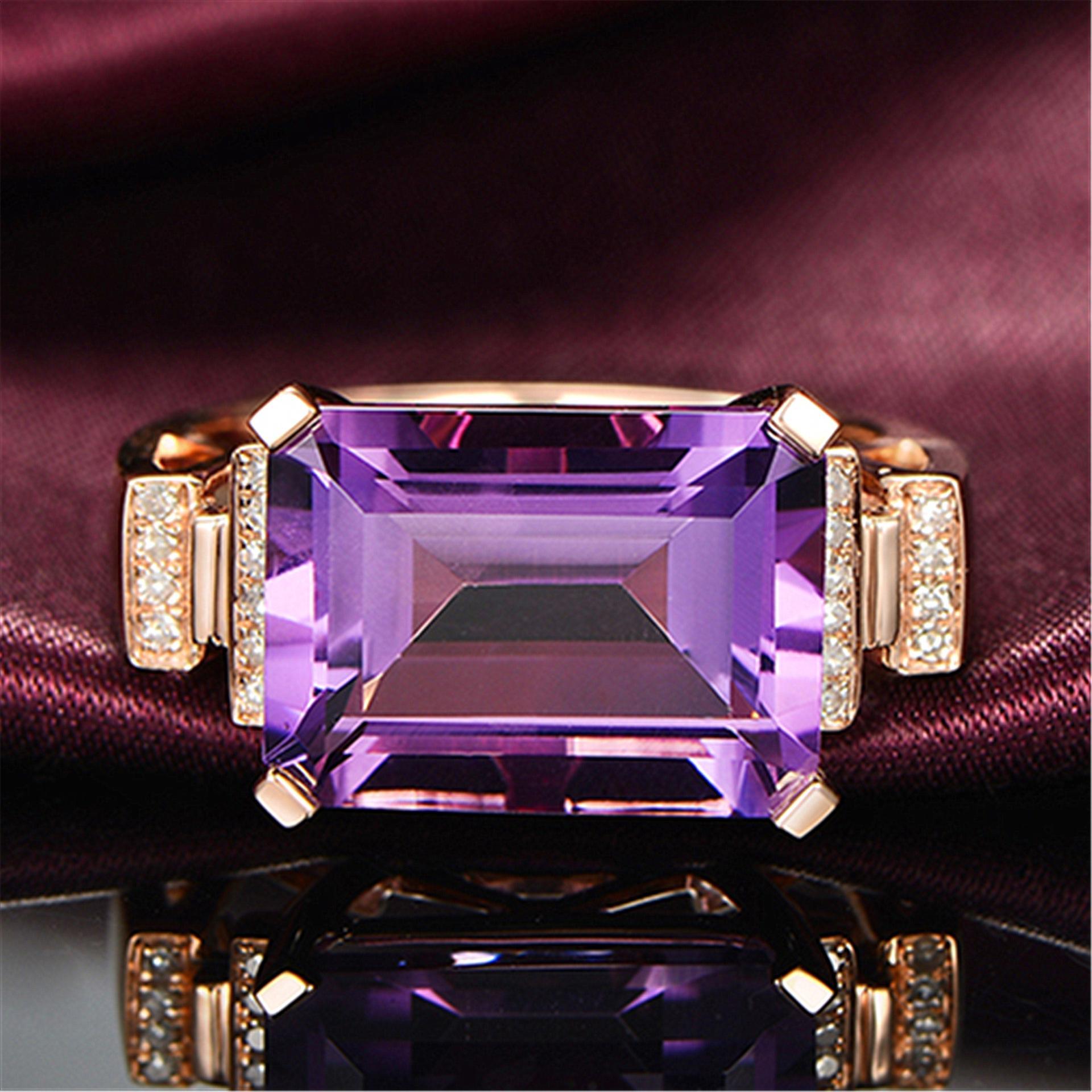 새로운 도착 여성 패션 쥬얼리 최고 품질 빛나는 크리스탈 로즈 골드 컬러의 결혼 반지에 대한 큰 보라색 CZ 스톤 빈티지 반지