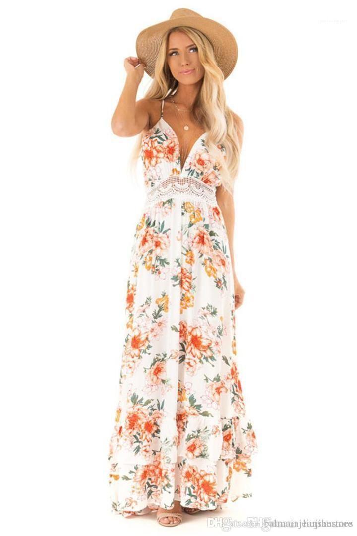 V-Ausschnitt Spitze Bahnenkleid Modedesigner Backless Bohemian Kleider Sommerblumenmuster Damen Kleid-Frauen