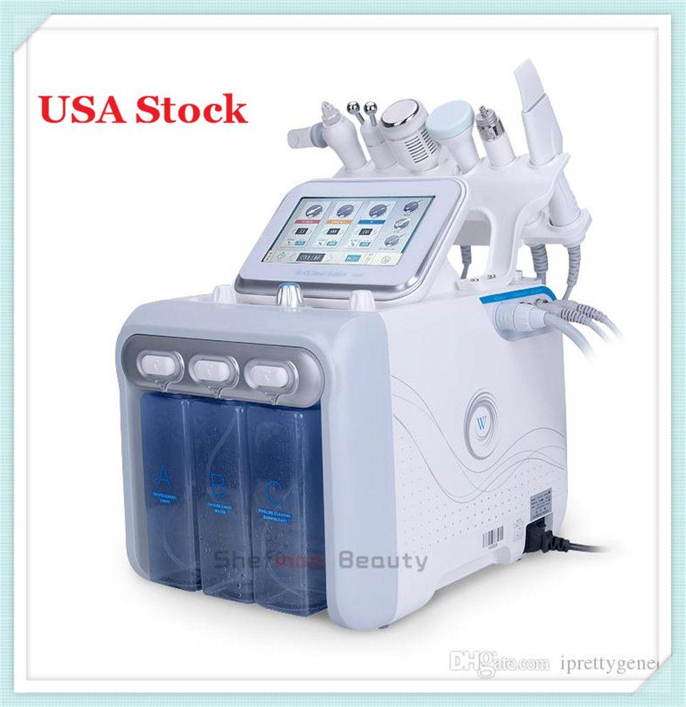 USA Stock 6 en 1 HydraFacial dermabrasion machine Eau Oxygène Hydra peau Scrubber Beauté du visage Deep Cleansing RF visage de levage à froid Marteau