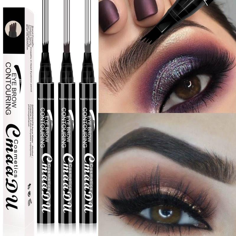 CmaaDu Liquid Eyebrow Pen Liquid Eyebrow Enhancer 3 Colors 4 Head Eyebrow Enhancer Long-lasting Waterproof DHL shipping