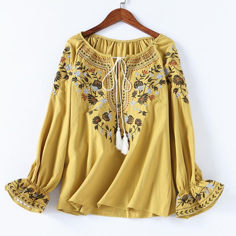 Bahar Kadın Moda Pamuk Gömlek Rahat Sonbahar Çiçek Nakış Dantel-up O-Boyun Bluz Gömlek Bayanlar Casual Boho Y190823 Tops