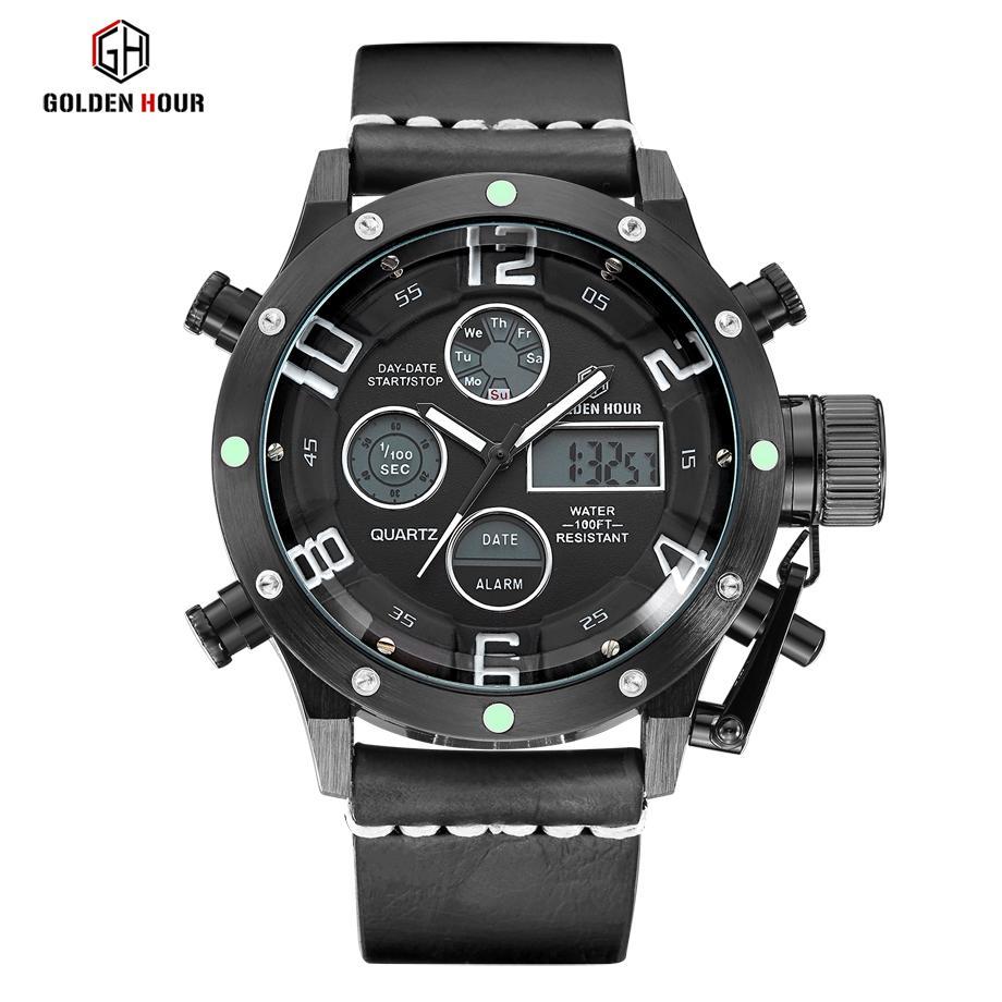Релох Hombre GOLDENHOUR кожа светодиодные часы Men Casual Army Alarm Часы Спортивные кварцевые наручные часы Человек 2019 Водонепроницаемый Мужской часы