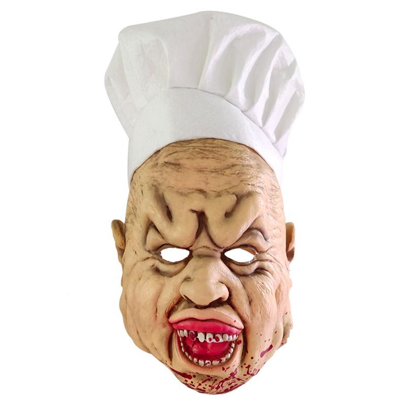 3 PCS Assassiner chef Masque Latex Horreur Effrayant Chapeau Tablier Set Prom Party cosplay M09 T200622