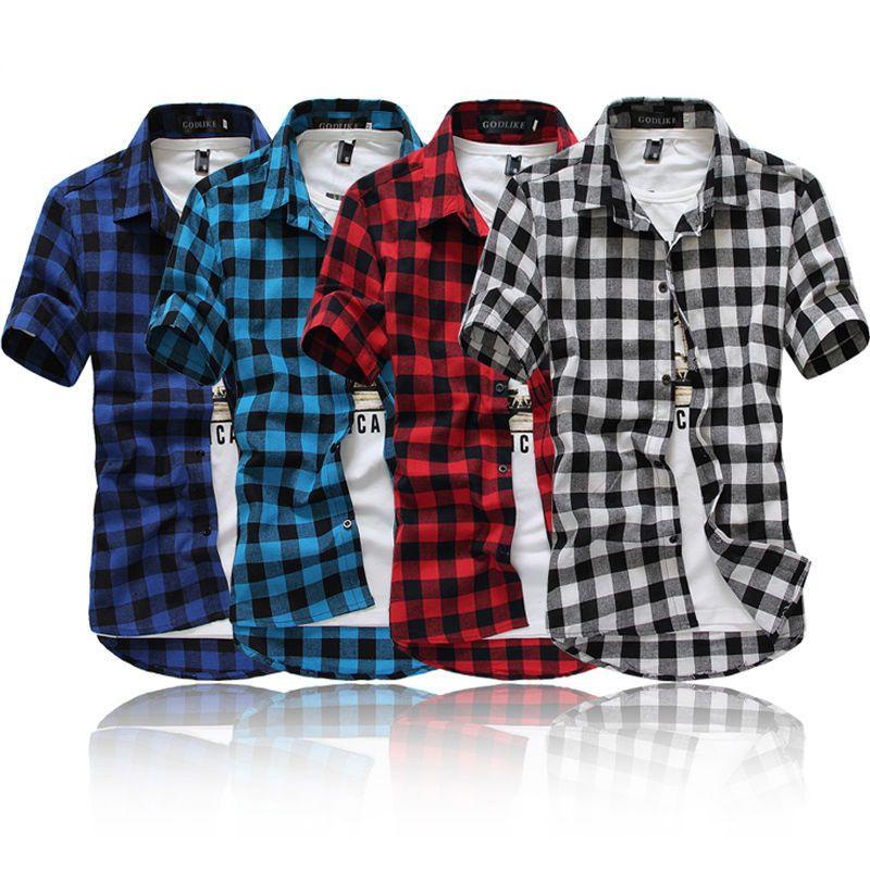 أزياء الرجال الصيف القطن عادية زر أسفل اللباس قميص رجالي منقوشة قصيرة الأكمام قمصان قمم قمزة أزرق أسود أحمر M-3XL