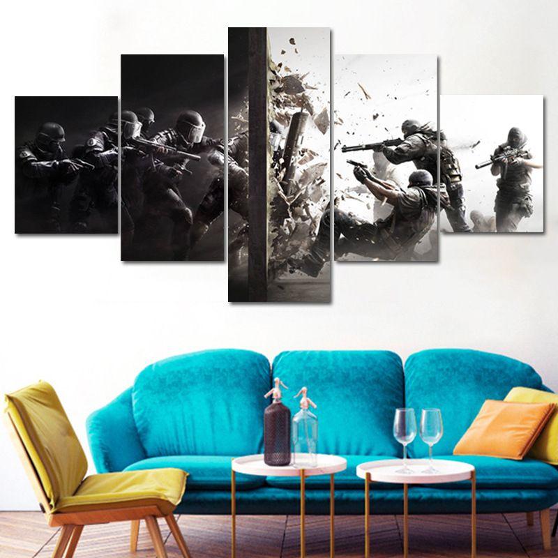 Boyama Yağ püskürtmeli Salon, Yatak Odası, Tuval Modern Ev Dekorasyon Resim Rainbow Six Kuşatmalar Beş Couplets Resim Çekirdek Mural Asma