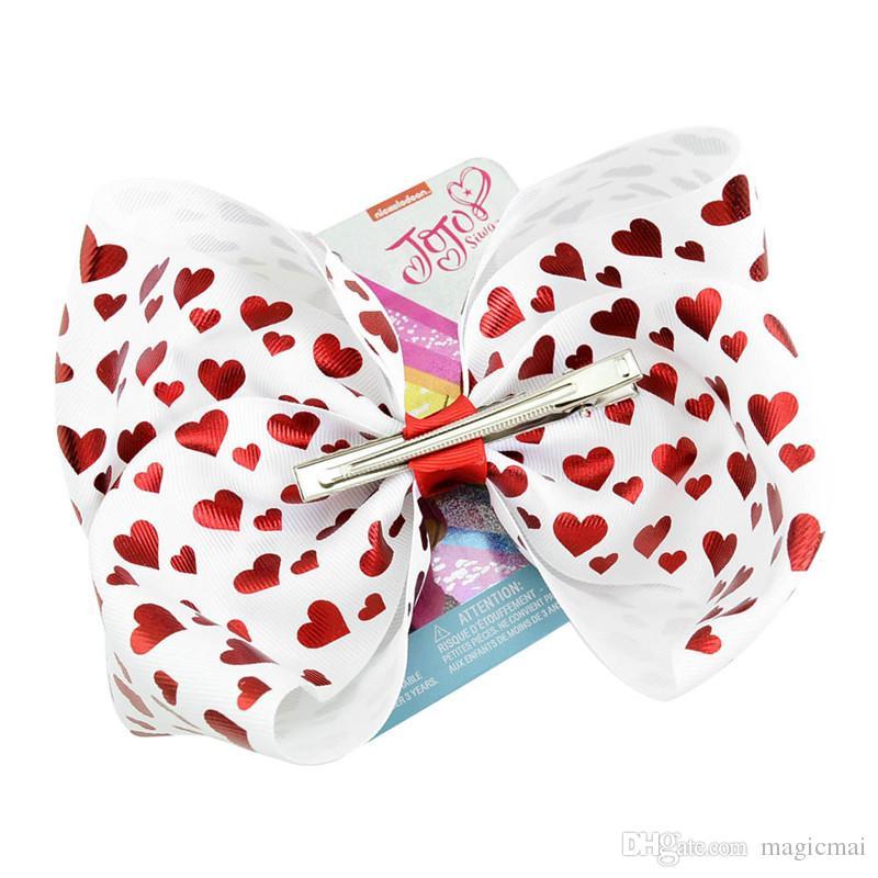 Jojo Siwa Bögen Valentinstag Mädchen Bögen mit Metall Logo Herzform Haarnadel Liebe Jojo Bogen 8 Zoll Big Bow zum Tanzen