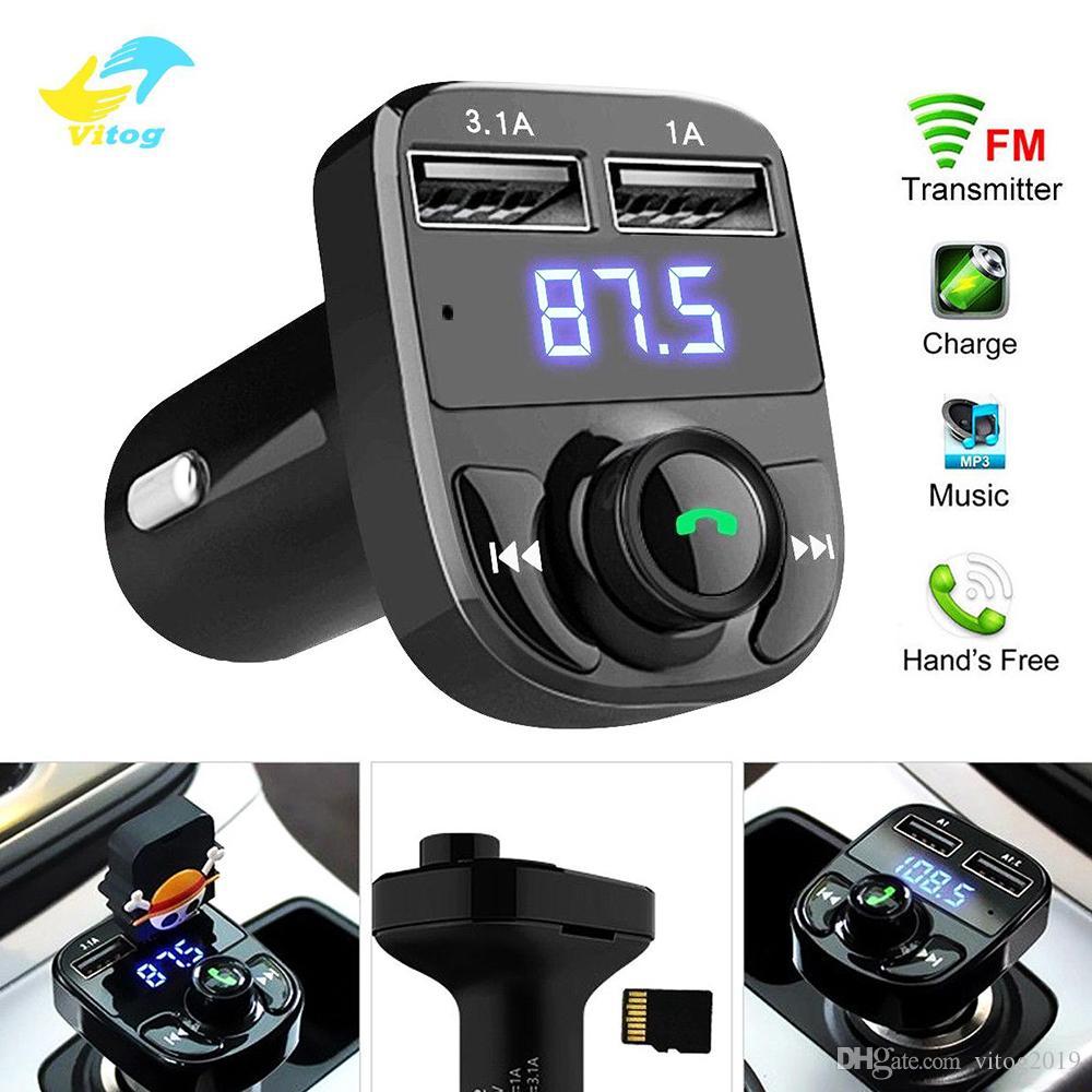 الصوت Vitog X8 سيارة اف ام الارسال مدخل aux المغير السيارة بلوتوث اليدوي استقبال MP3 لاعب الإضافية 3.1a الشحن السريع المزدوج USB شاحن سيارة