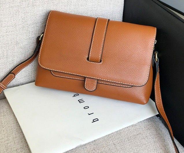 sacs mortuaires de la Croix-Mode femme rabat en cuir souple concis cuir véritable 3 couches poches grand volume intérieur polyvalent sacs à bandoulière