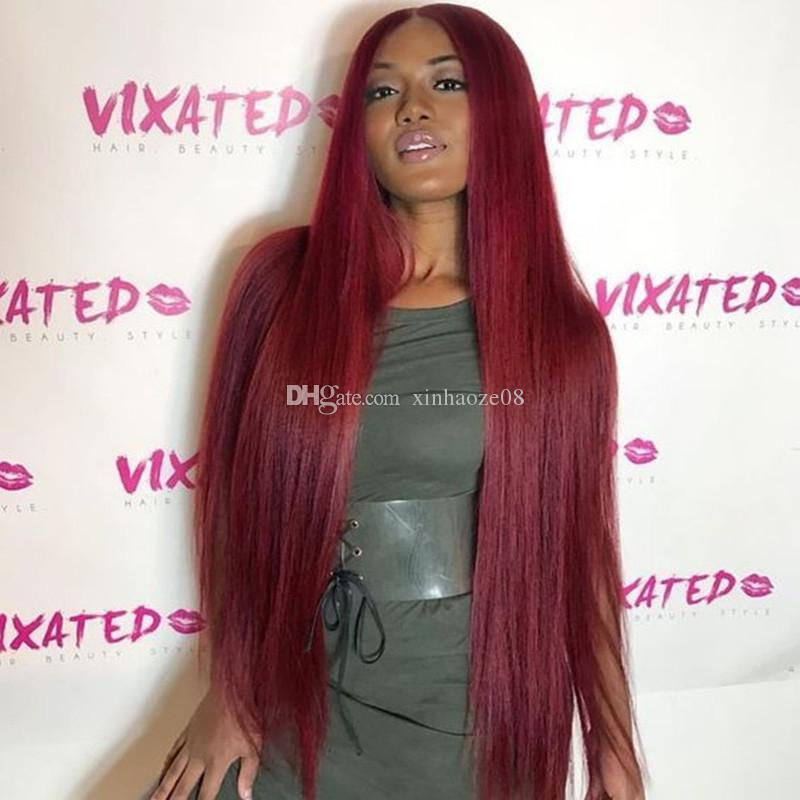 #99J Wine Red Full Lace Human Hair Wigs Straight Peruvian Burgundy Hair Glueless Lace Front Wigs Middle Part 130% Density