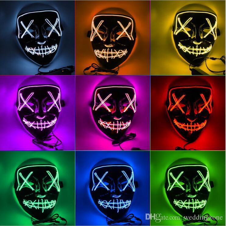 Хэллоуин Маска LED Light Up Партийные Маски Полнолицевые Смешные Маски El Eire mark Glow In Dark Для Фестиваля Косплей Ночной Клуб