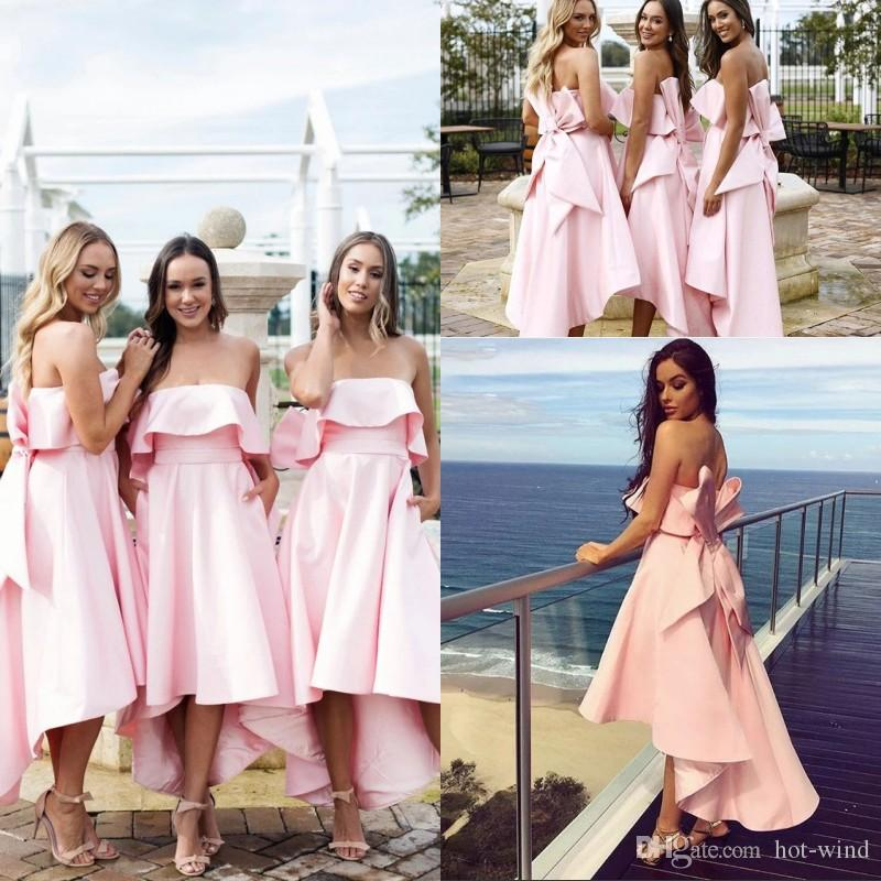 New Blush Pink Bridesmaids Dresses With Big Bow 2020 Strapless Backless High Low Maid of Honor Wedding Guest Gowns Plus Size