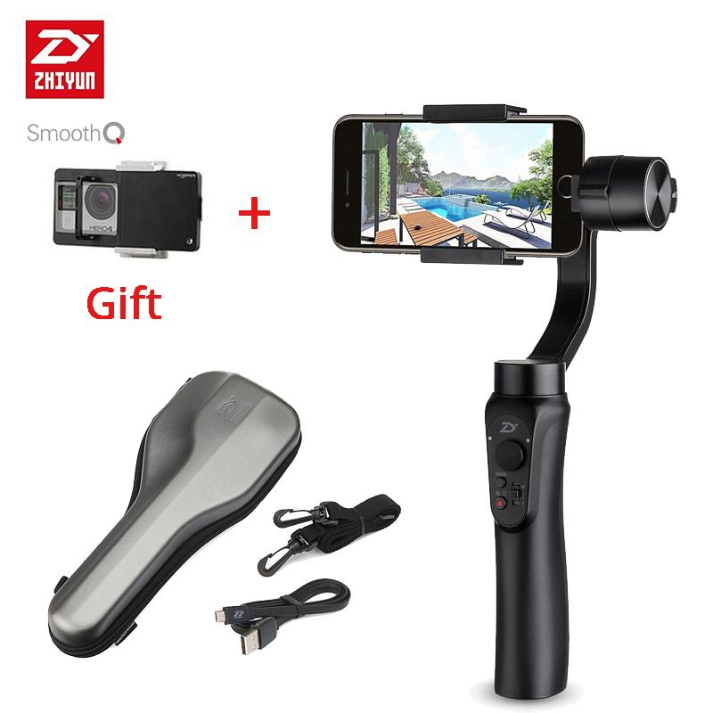 Freeshipping Smooth Q 3 Axis Handheld gimbal stabilizer action camera selfie Mobile steadicam for iphone Sumsung For GoPro SJCAM
