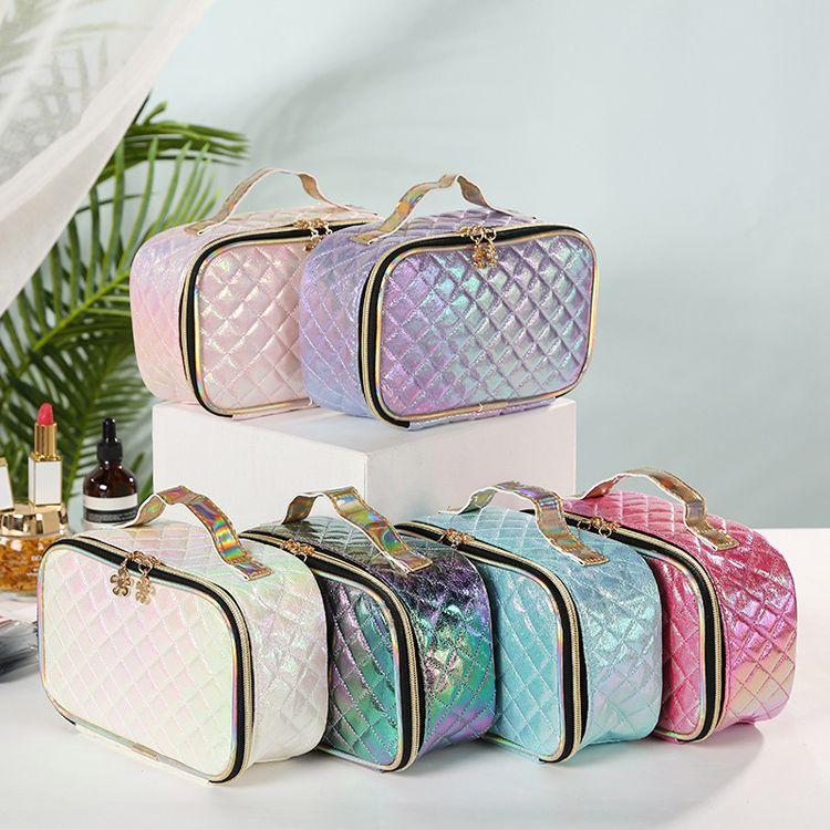 Sacs de maquillage Sacs cosmétiques Love Rose Travel Bag PU-Tenuée à la main CosmeticKag Makingbags Lettre Hologram paillettes Grande capacité Stockage étanche