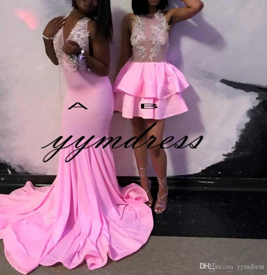 Sirena rosa Vestidos de noche 2019 Halter Neck Sexy Backless Sweep tren Encaje Apliques Con cuentas África Vestido de fiesta formal