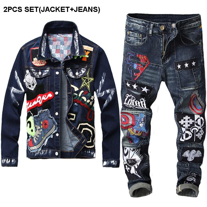 빈티지 데님 재킷 청바지 자수 선장 배지 바느질 청바지 2 종 세트 스트리트 + 남성 슬림 뷰티 배지 데님 자켓을 설정합니다