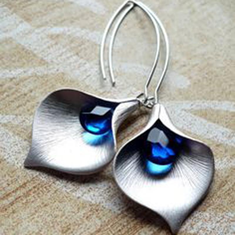 Kadınlar Toptan Takı Charm Gümüş Damla Küpe Uzun Bırak Küpe Düğün Hediyesi için Moda Mavi Taş Dangle Küpe