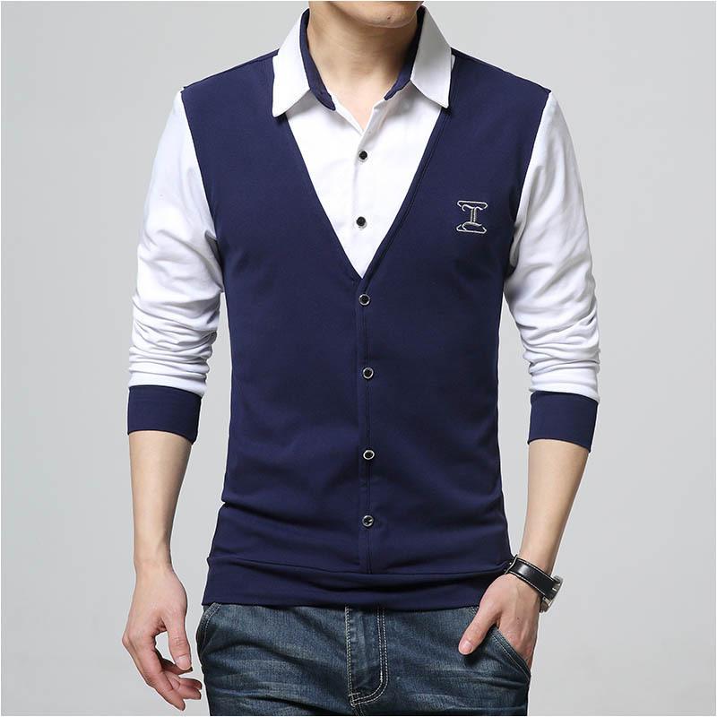 Autumn Fashion Patch Design Men 'S Shirt T -Shirt Fake Two Long Sleeve Turn -Down Collar Cotton T Shirt