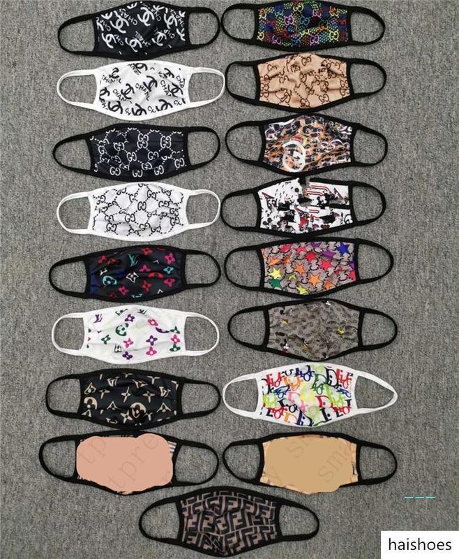 Yaz Bahar Maskeleri Yıkanabilir Tasarım Yüz Maskesi Tasarımcı Kadınlar Erkekler toz geçirmez Bisiklet Spor Ağız Kapak Markalı Respiratörü 17colorsD42703 Maske