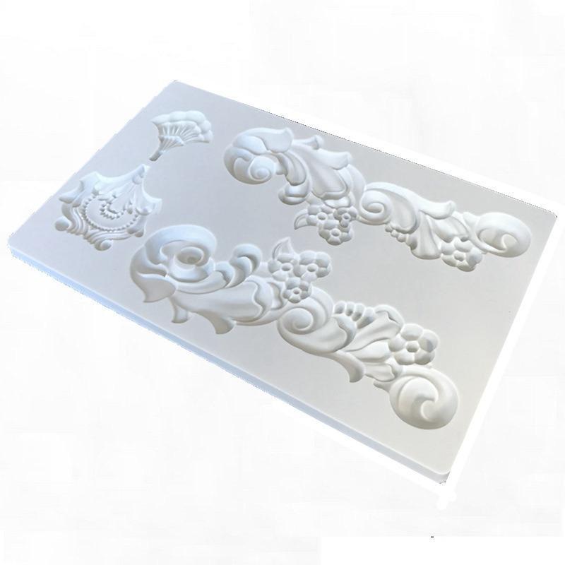 Estilo retro europeo Alivio del gel de silicona del molde textura de la flor del cojín de azúcar decoración de la torta molde de arcilla para hornear envío Herramienta