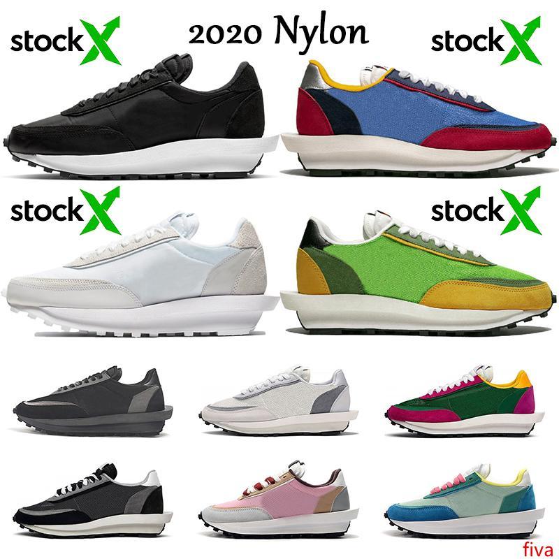 Top noir en nylon blanc LD Sacai gaufre Stock x chaussures de course lever du jour ldv Blazer pour homme femme chaussures de sport Varsity Blue Green Gusto