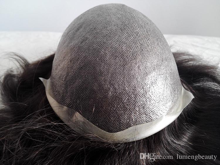 Stock ordine uomini Toupee 100% capelli umani 0.06mm spessore Super sottile pelle pu sistemi di inversione del nodo nodo sostituzione dei capelli