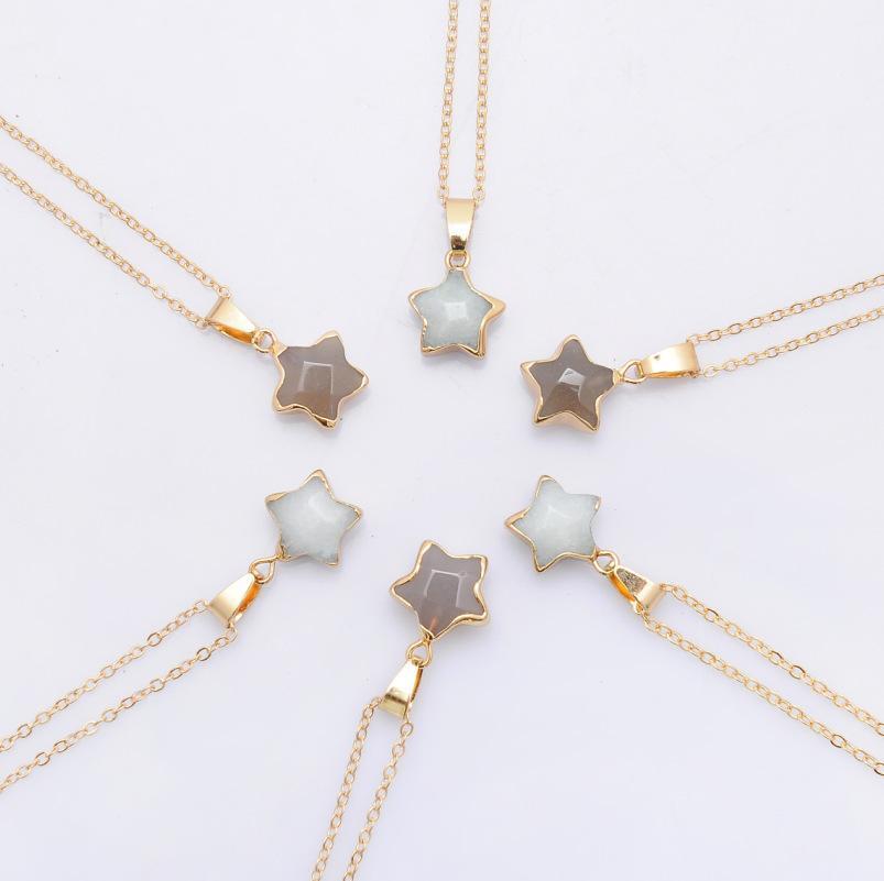 Pentagram Yıldız Zincir Kolye Pembe Kristal Çakra Doğal Taş Altın Kaplama Geode Druzy Kuvars Kolye DIY Kolye Takı