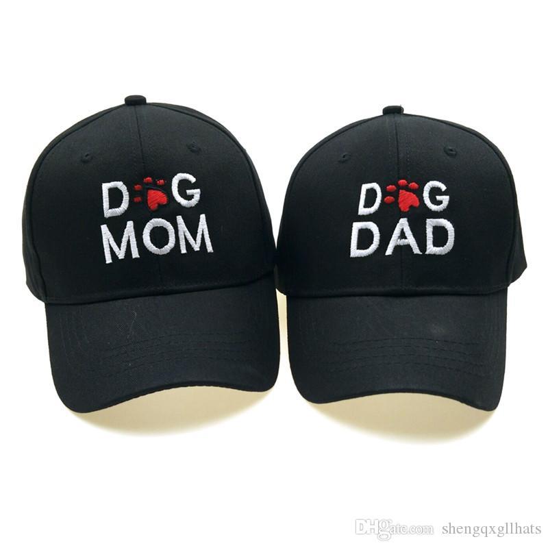 DOG DAD DOG التطريز MOM البيسبول كاب الصلبة أبي قبعة في الهواء الطلق عارضة هوب هوب قبعة قابل للتعديل سنببك القبعة للنساء رجال بالجملة كاب
