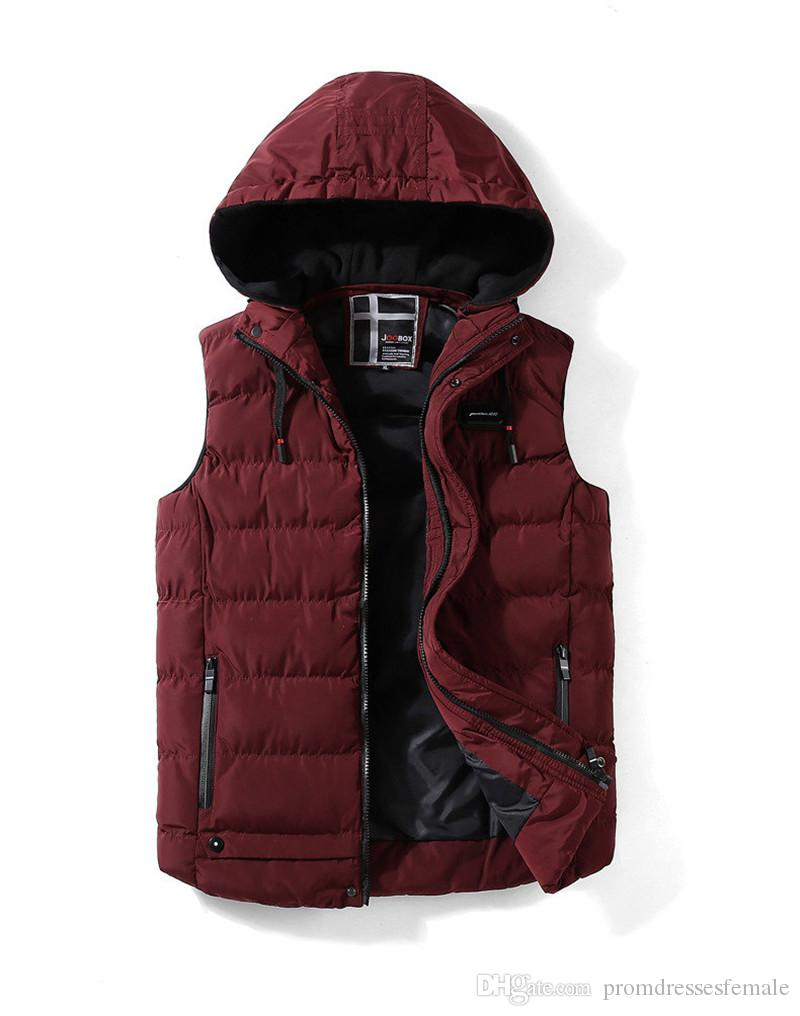 Winter Mens Coat Designer Sleeveless Slim Zipper Outerwear Fashion Mens Hooded Down